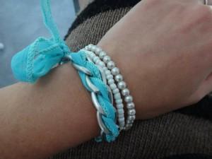 bracelet chaine gourmette ruban