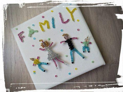 cadre family en perles