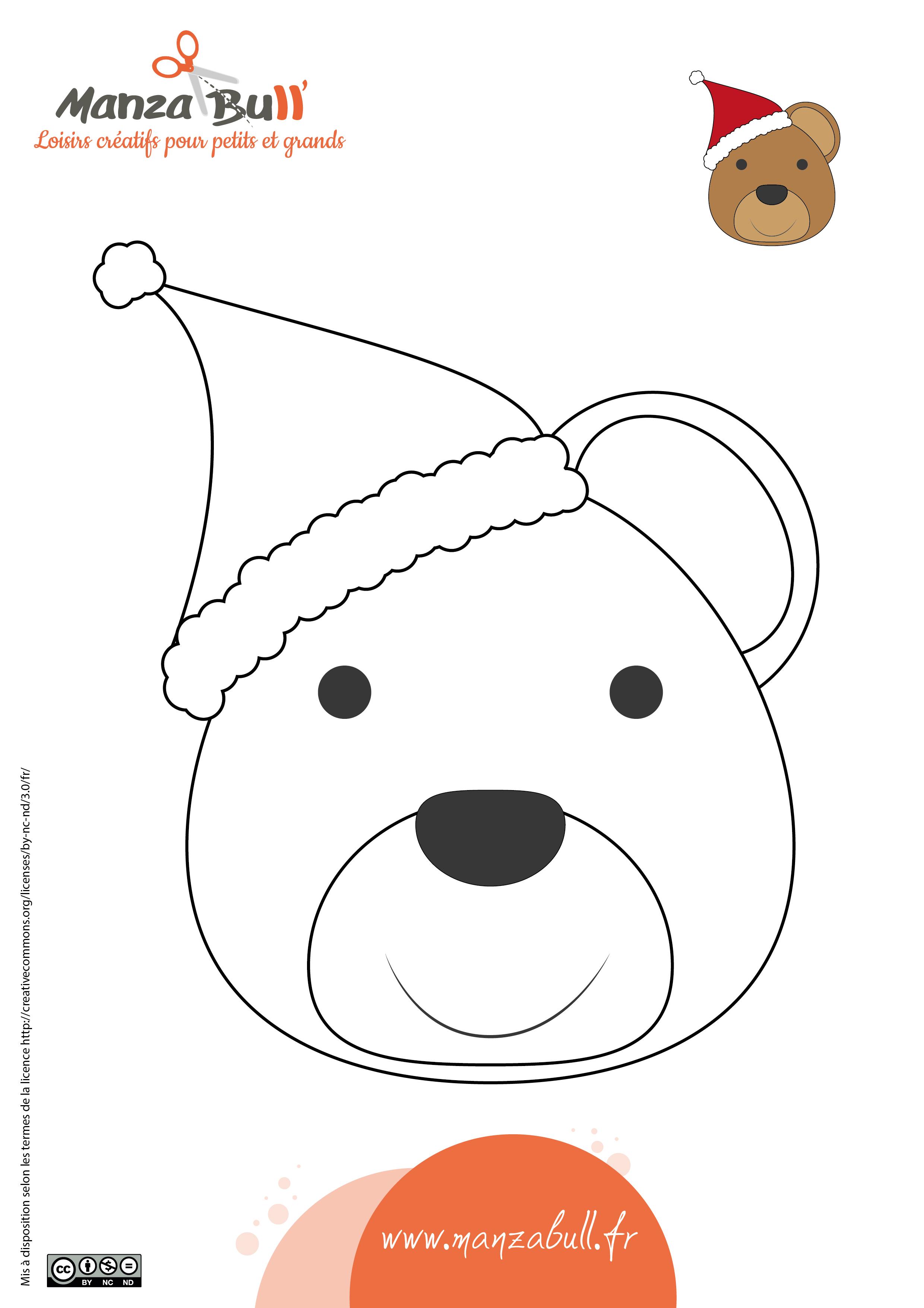 Coloriage Ours De Noël à Imprimer Manzabull