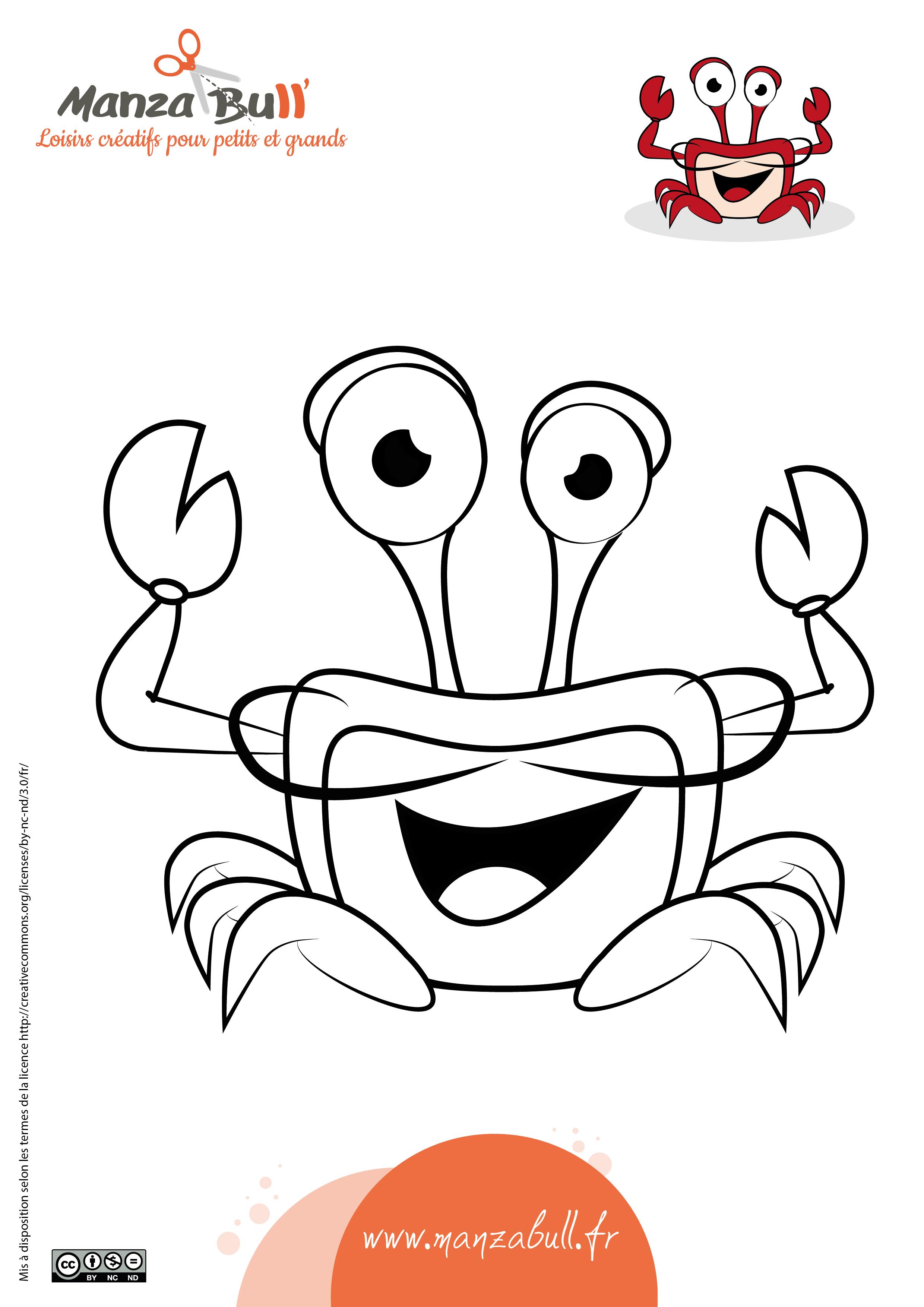 Coloriage crabe à imprimer - ManzaBull'