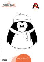 Coloriage de Noël pingouin