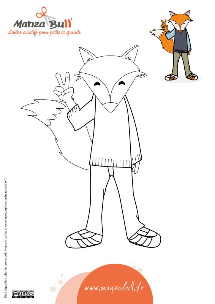 Coloriage renard à imprimer gratuit