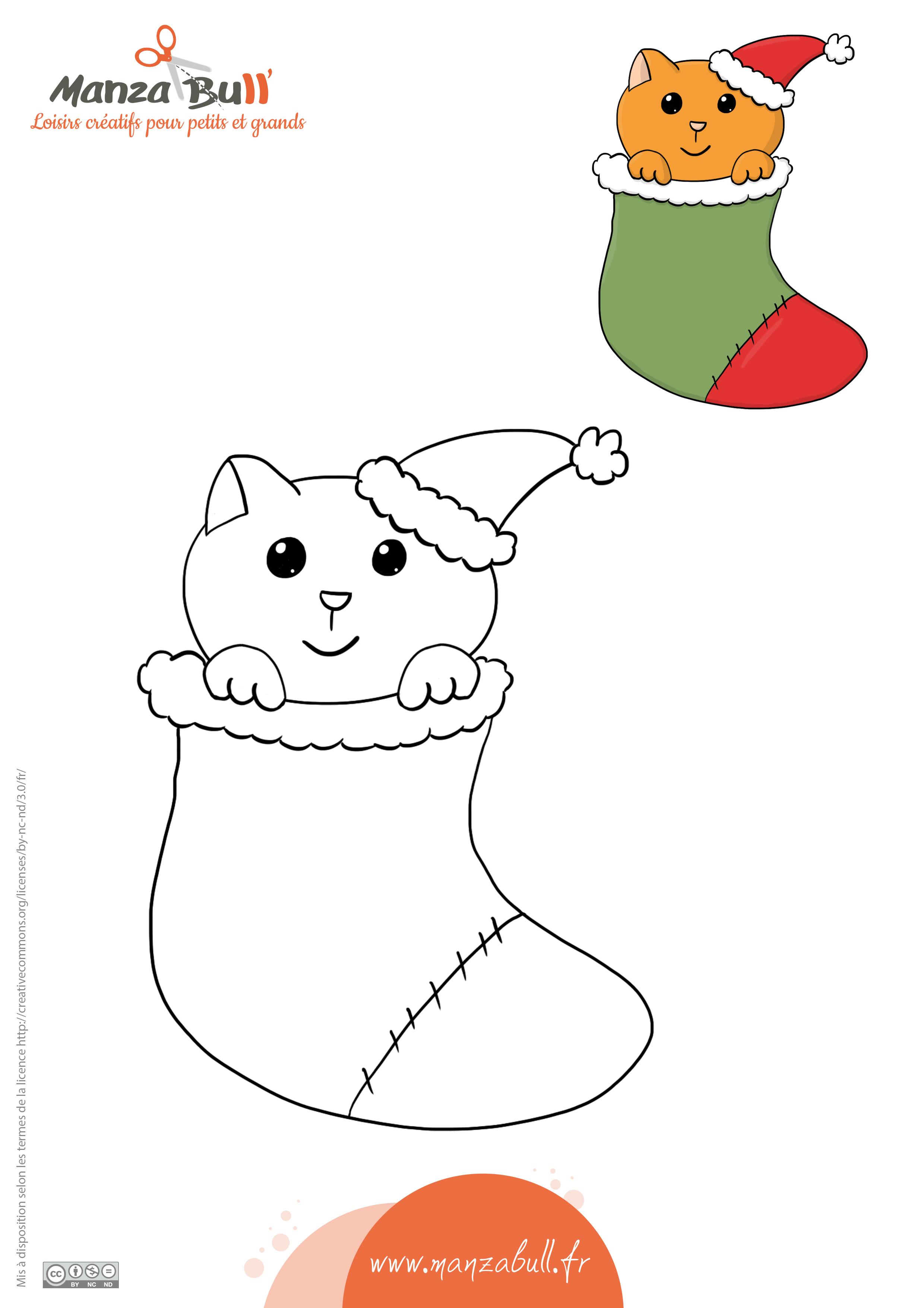 Coloriage De Noël Chat Manzabull