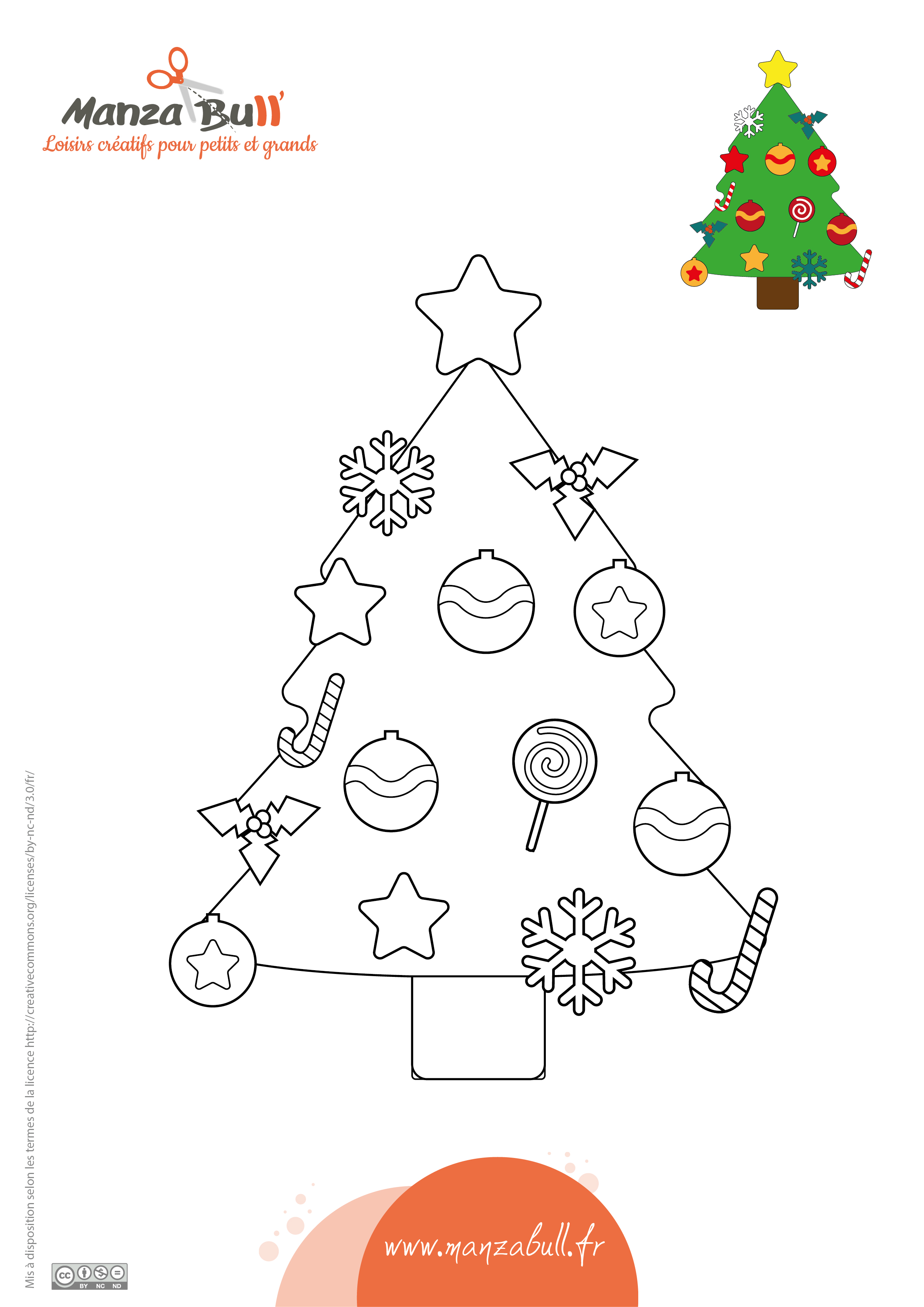 Coloriage sapin de Noël - ManzaBull'