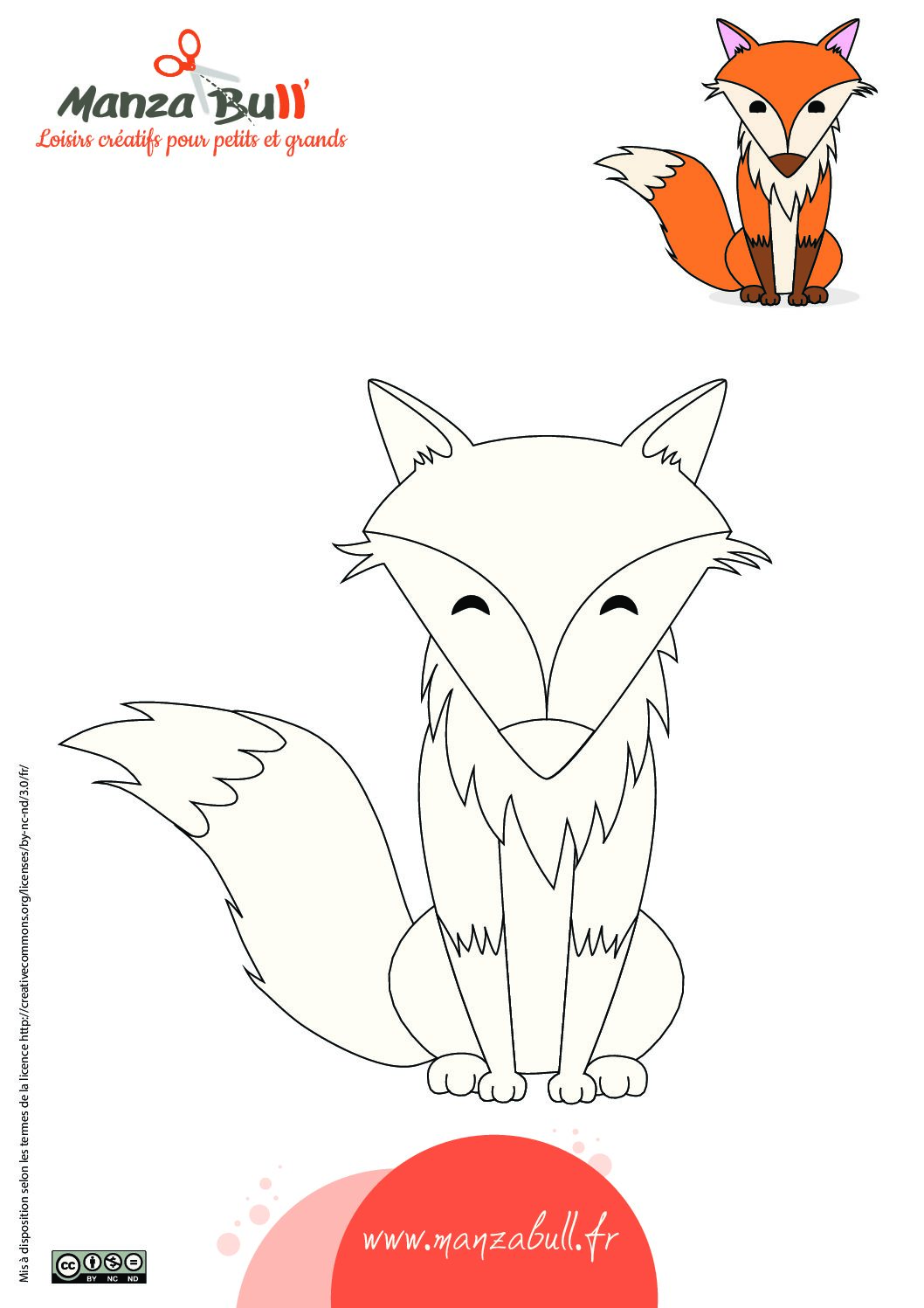 Coloriage renard à imprimer - ManzaBull'