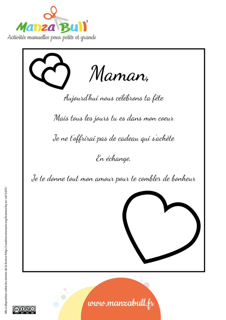Poeme Fete Des Meres A Imprimer Manzabull