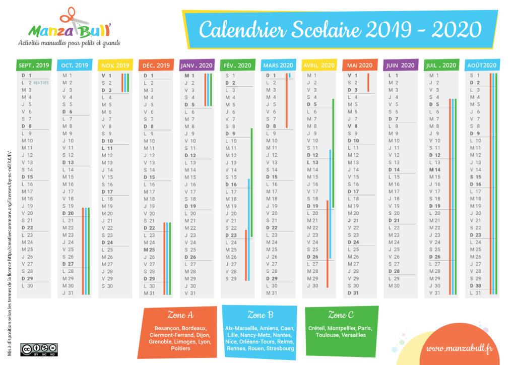 Calendrier 2020 Et 2020 Avec Vacances Scolaires.Calendrier Scolaire 2019 2020 A Imprimer Manzabull