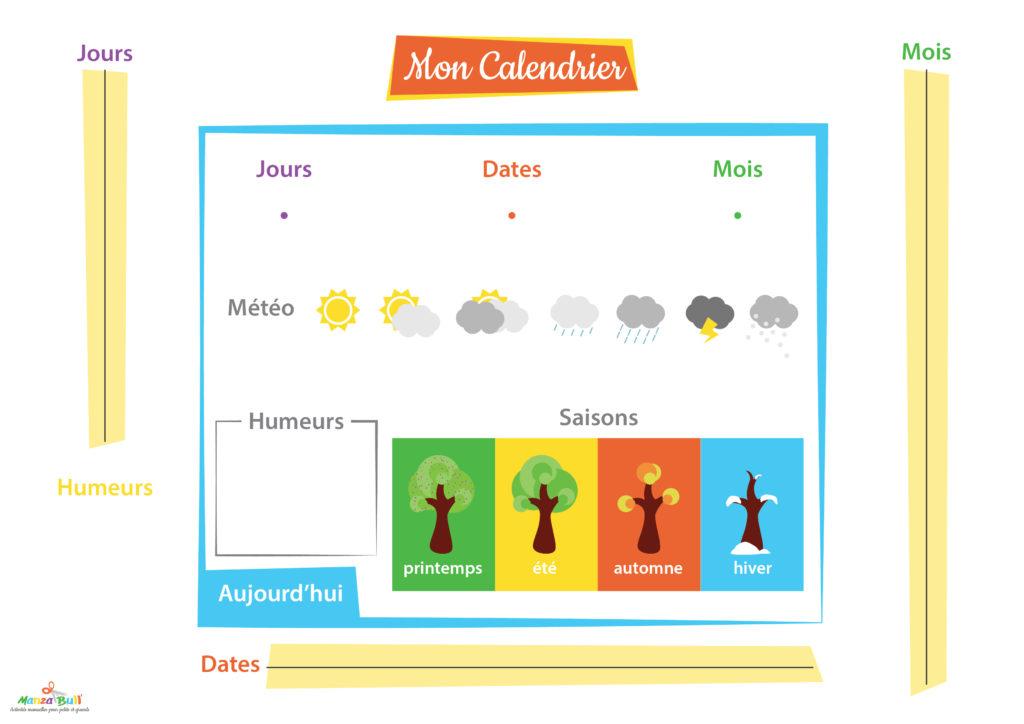 Calendrier A Faire.Calendrier Montessori Pour Enfant A Faire Soi Meme Manzabull