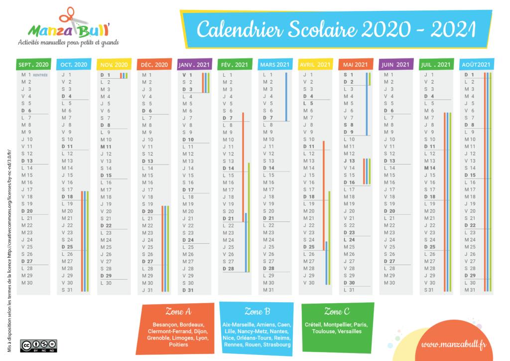 calendrier scolaire 2020 -2021