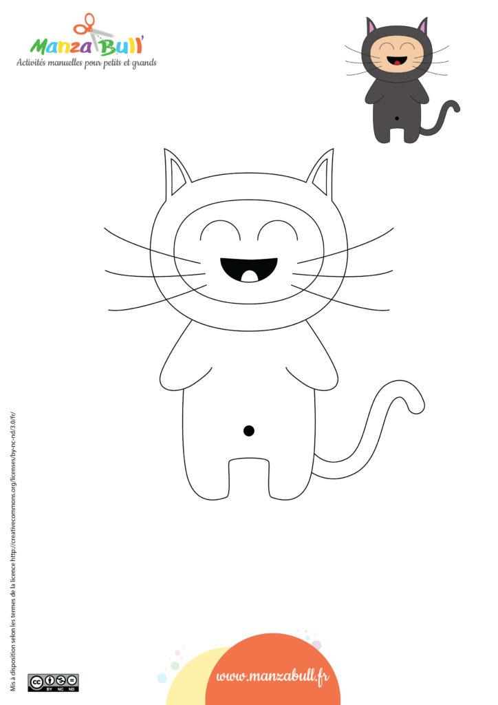 Coloriages d'halloween : le chat noir