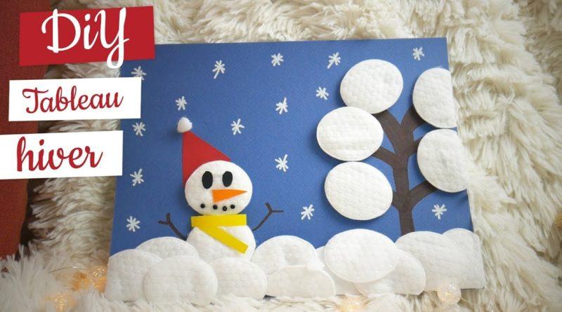 Activité manuelle d'hiver : tableau bonhomme de neige