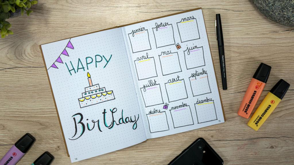 Bullet journal , anniversaires