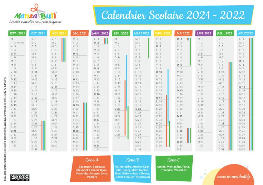 calendrier scolaire 2021 - 2022